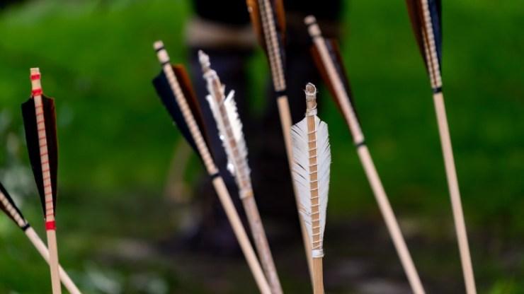 Close up of arrow heads-diy bow and arrow