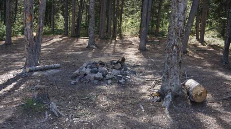 Remains of a bonfire in a Yukon forest in Canada-Types of Campfires