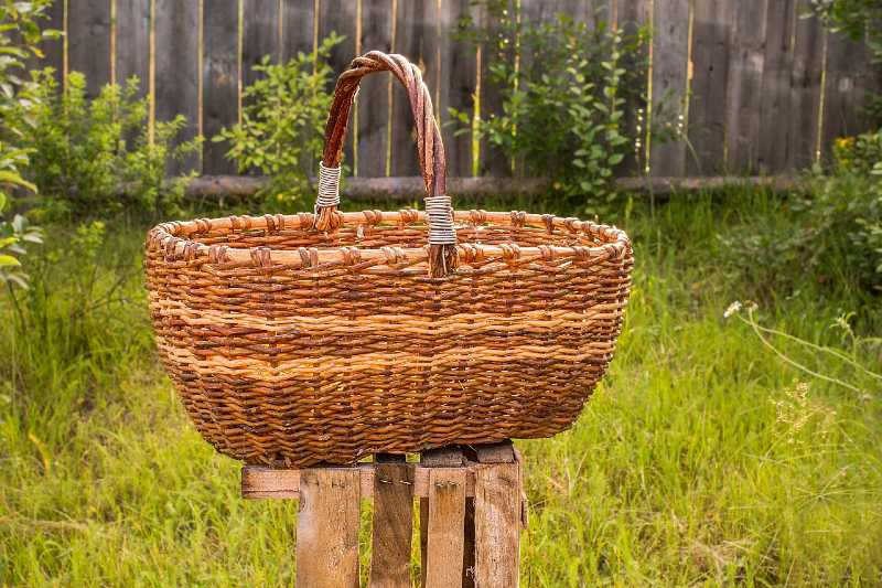 Big old weathered empty wicker laundry basket-Small Space Garden