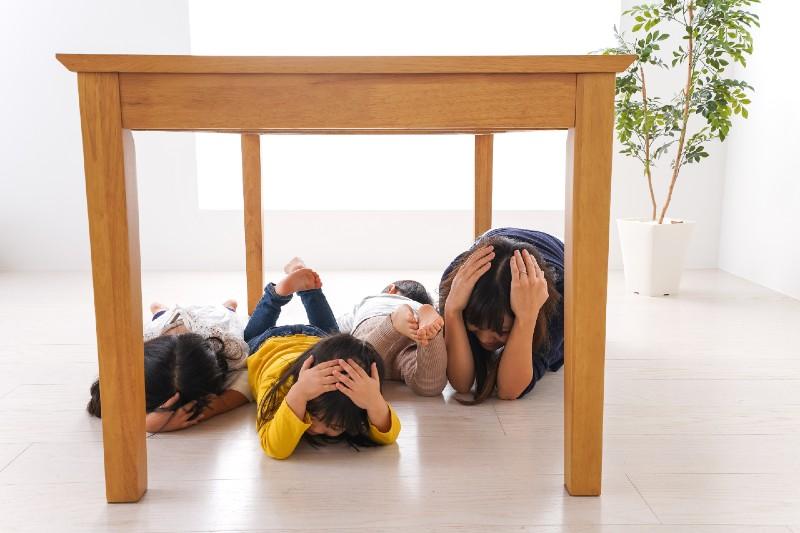 Children taking refuge from earthquake-prepping for shtf