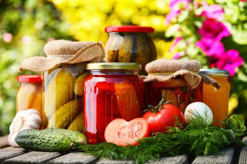 Jars of pickled vegetables in the garden. Marinated food-Small Space Garden