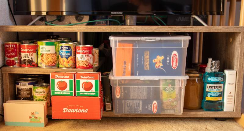 Prepping during the covid19 pandemic. Food storage under the TV-prepping for shtf
