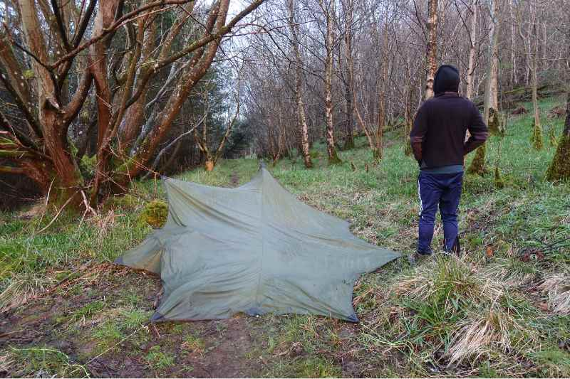 Solo Hiker tarp wild camping with back faced to the camera looking into woodland-Camping Alone Tips