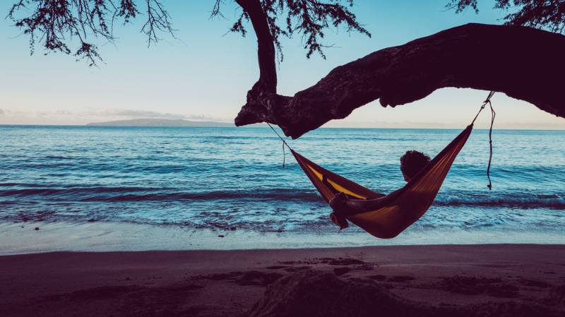 traveler-guy-relaxing-hammock-hang-on tent or hammock