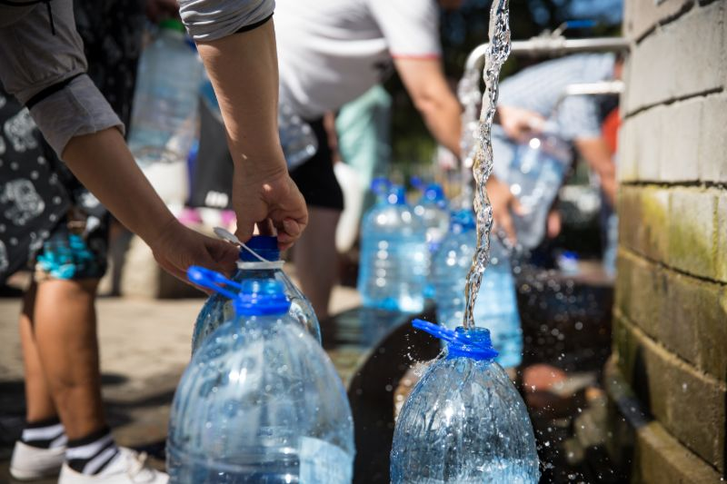 Collecting natural spring water   Hurricane preparedness