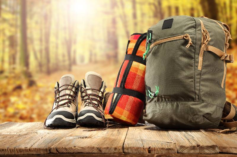 backpack shoes and forest of sun light-Bug Out Bag