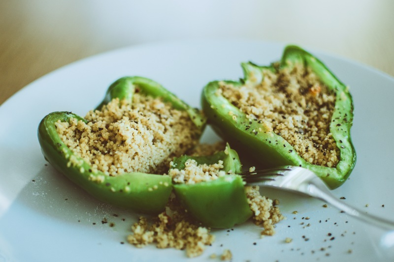 Green Bell Pepper Stuffed with Couscous | Camping Food Hacks
