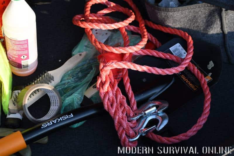 shovel jumper cables tow rope and more